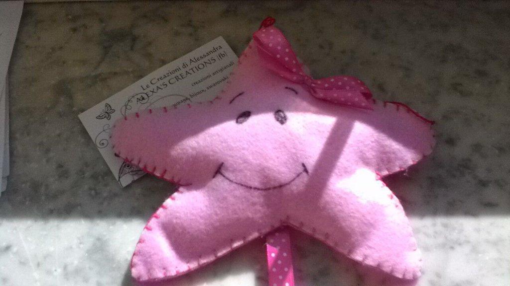 Stella in pannolenci rosa fiocco nascita
