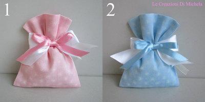 Sacchetti,(FAI DA TE), Porta confetti, rosa o celeste cuori rosa o celeste