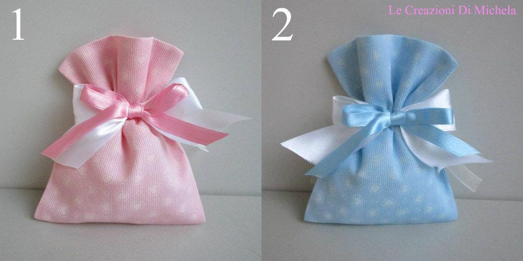 Super Sacchetti,(FAI DA TE), Porta confetti, rosa o celeste cuori rosa o  TG55