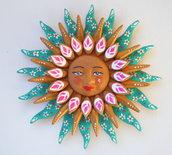 Sole da appendere a parete in terracotta dipinto a mano / Bomboniera (26)