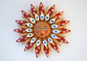Sole da appendere a parete in terracotta dipinto a mano / Bomboniera (27)
