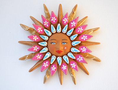 Sole da appendere a parete in terracotta dipinto a mano / Bomboniera (28)