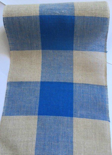 Bordo Lino Scozzese Riquadri Bluette e Naturale - Altezza 20 cm - Vaupel & & Heilenbeck