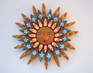Sole da appendere a parete in terracotta dipinto a mano / Bomboniera (30)