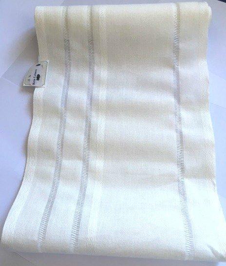 Taglio Bordo Lino Bianco con Sfilature - Altezza 28,5 cm - Mt 1,64 - Vaupel & & Heilenbeck