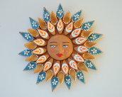 Sole da appendere a parete in terracotta dipinto a mano / Bomboniera (34)