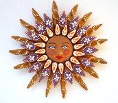 Sole da appendere a parete in terracotta dipinto a mano / Bomboniera (35)