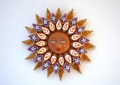 Sole da appendere a parete in terracotta dipinto a mano / Bomboniera (38)