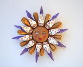 Sole da appendere a parete in terracotta dipinto a mano / Bomboniera (39)