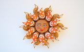 Sole da appendere a parete in terracotta dipinto a mano / Bomboniera (42)