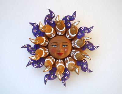 Sole da appendere a parete in terracotta dipinto a mano / Bomboniera (45)