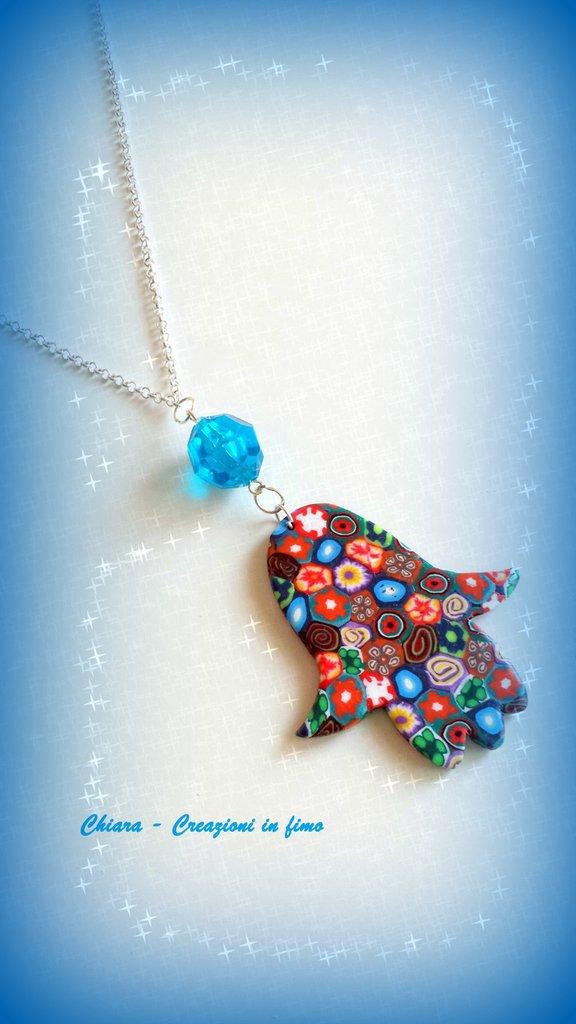 Collana con ciondolo in fimo handmade mano di Fatima idee regalo donna