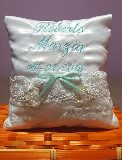 Cuscino porta fedi cuscinetto personalizzato nomi data matrimonio ENTRA SCEGLI IL COLORE