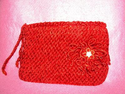 borsa elegante fatta a mano in velluto rosso media