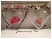 Cuore portafoto in vimini con rete metallica e rose di lino