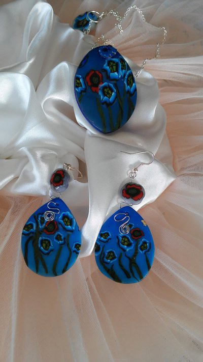 Parure duo Papaveri blue