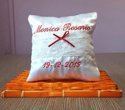 Cuscinetto cuscino porta fedi personalizzato ricamo dei nomi e data matrimonio scegli colori