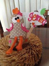 Pasqua regalo originale gallina gallinella feltro personalizzabile nei colori
