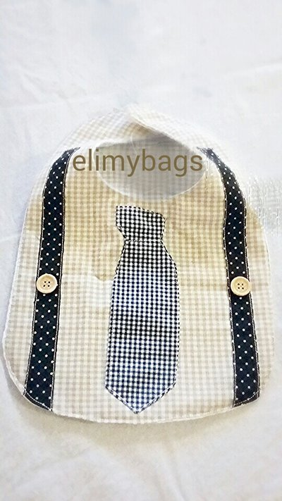 Bavaglino bambino con camicia cravatta e bretelle ♥