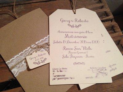 Partecipazioni Matrimonio Homemade.Partecipazione Country Chic Busta Carta Kraft Modello Dora