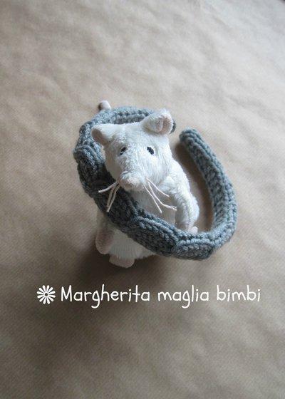 Cerchiello rivestito in pura lana merino colore grigio lavorato ai ferri
