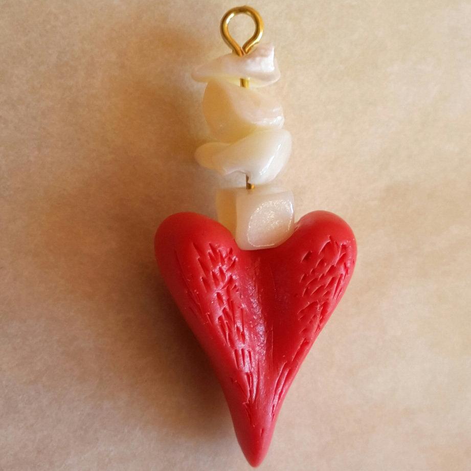 Autopsia amore e odontoiatria - Ciondolo a forma di cuore con pezzi di madreperla