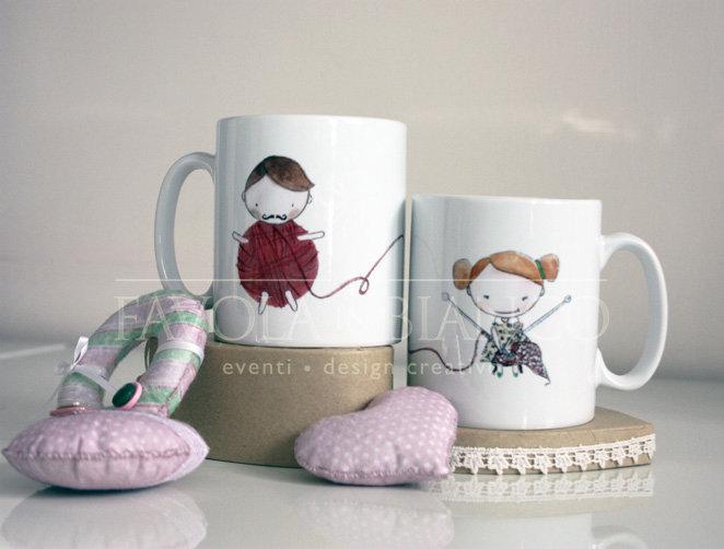 tazze LOVE con disegni realizzati a mano