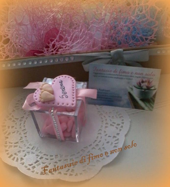 Bomboniera nascita o battesimo con scatola in plexiglass