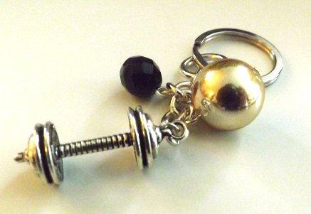 Portachiavi  con ciondolo bilanciere in argento tibetano idea regalo