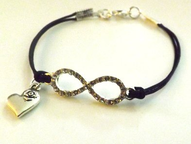 Bracciale con cordino nero,simbolo infinito con strass trasparenti e ciondolocuore in argento tibetano idea regalo