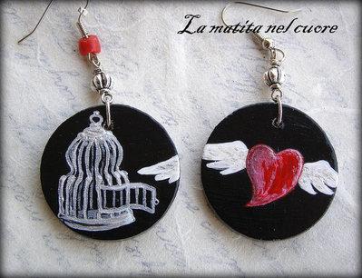 Orecchini The power of love (Cuore Libero) legno dipinto