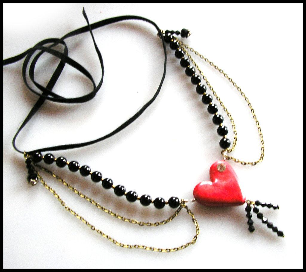 """Collana """" Regina di Cuori """" San Valentino perle nere gotic style fimo cernit premo idea regalo"""