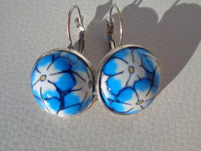 Orecchini pendenti alla francese in pasta polimerica azzurri