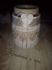 Vaso  di vetro e legno