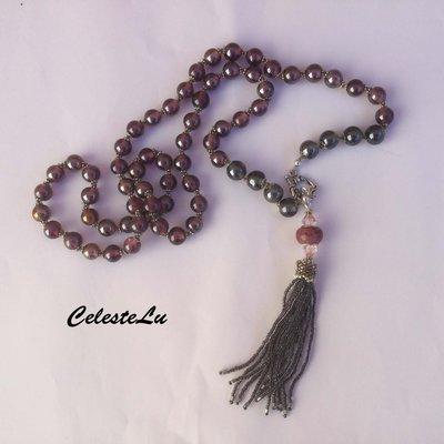 Collana lunga con perle di vetro indiano e nappina