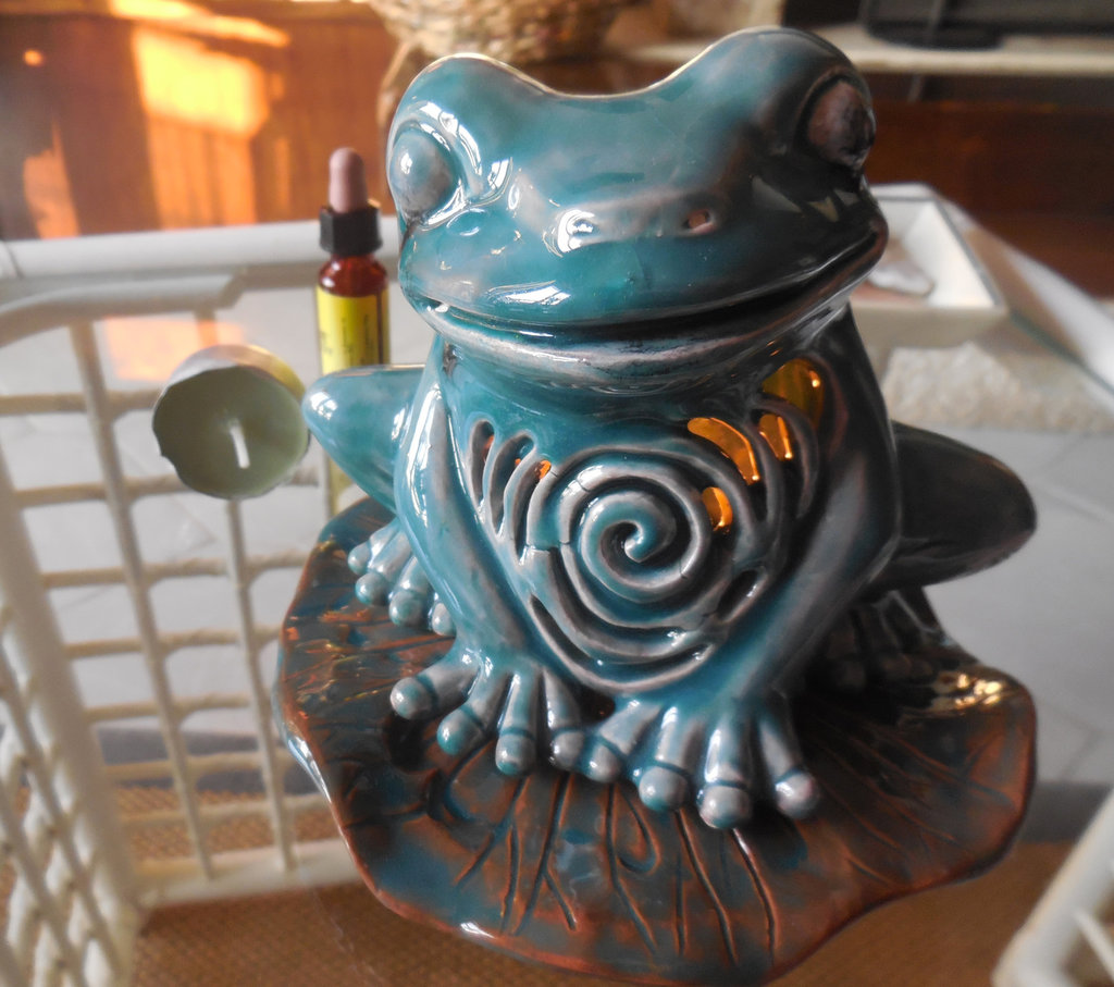 Rana brucia essenza in terracotta e ceramica