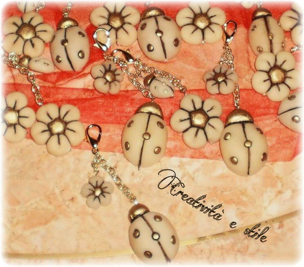 Portachiavi fiore e coccinella