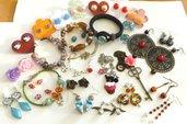 Lotto imperdibile di orecchini bracciali e collane idea regalo in fim,metallo,pietre dure,charm,pelle sintetica,...