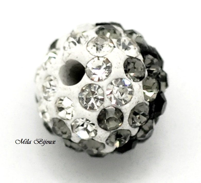 Perle multistrass black & white 1pz