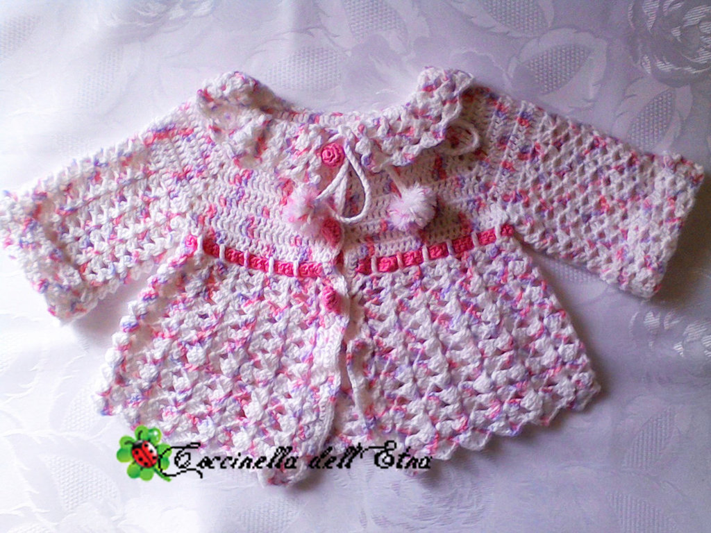 Giacchina Neonato Rosa A Uncinetto Idee Regalo Di Natale Bambini