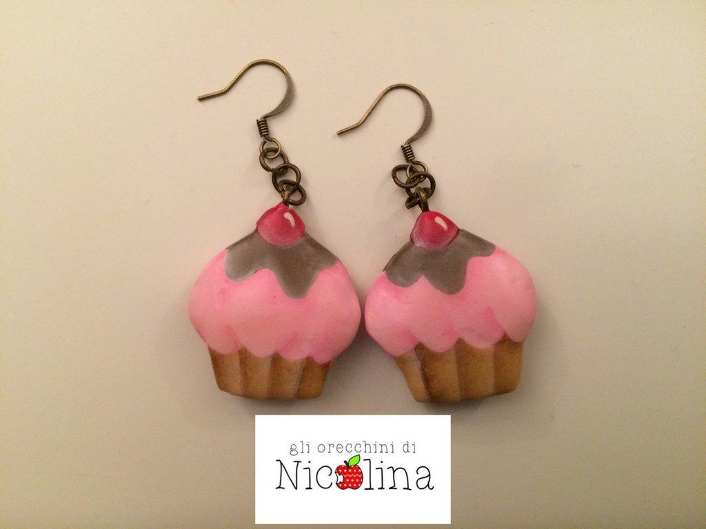 Orecchini cupcake fragola cioccolato