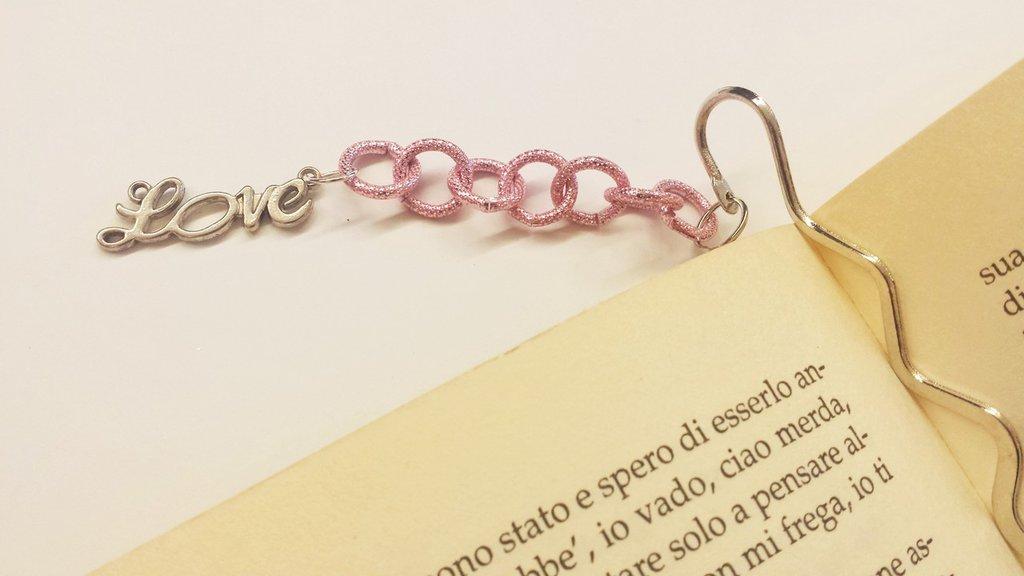 segnalibro love rosa