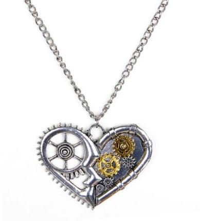NOVITA'!!Collana con ciondolo cuore steampunk idea regalo per lei