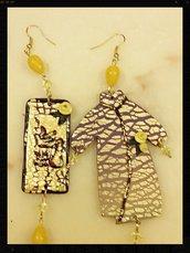 orecchini pendenti stile giapponese pasta polimerica foglia oro.