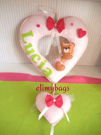 Fiocco nascita rosa a forma di cuore con orsetta che dorme♥