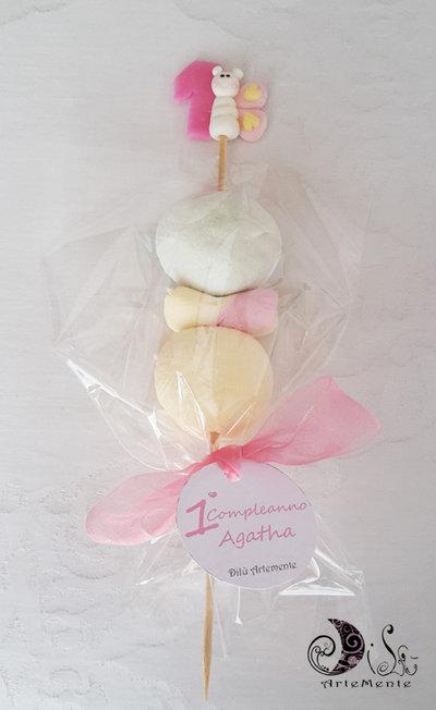 Spiedini di caramelle decorati farfalle gadget compleanno bambini personalizzabili completi