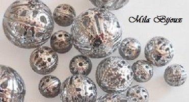 perline filigranate argento 10pz
