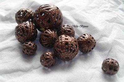 perline filigranate bronzo 10pz