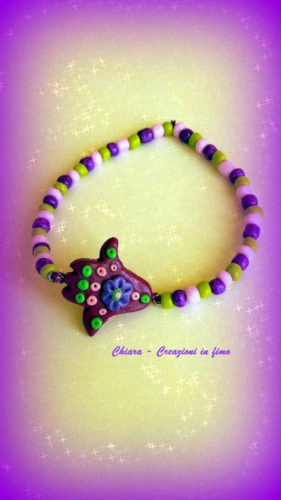 Bracciale in fimo elegante con mano di fatima bordeaux  e perline idee regalo donna regalo compleanno