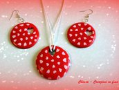 Parure con ciondolo e orecchini coordinati in fimo elegante handmade idee regalo san valentino donna